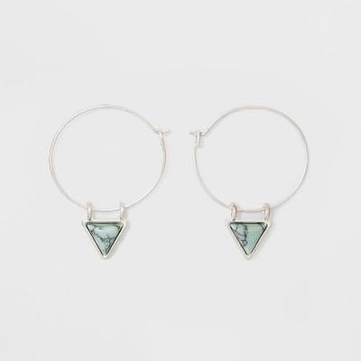 Wire Hoop With Semi Precious Triangular Stone Earrings   Universal Thread™ Light Blue by Universal Thread