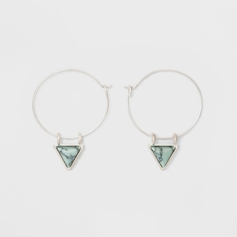 Wire Hoop with Semi Precious Triangular Stone Earrings - Universal Thread™ Light Blue - image 1 of 3