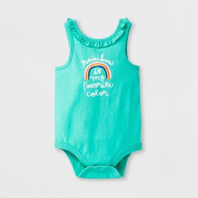 Baby Girls' Spaghetti Strap Tank Romper - Cat & Jack™ Green 6-9M