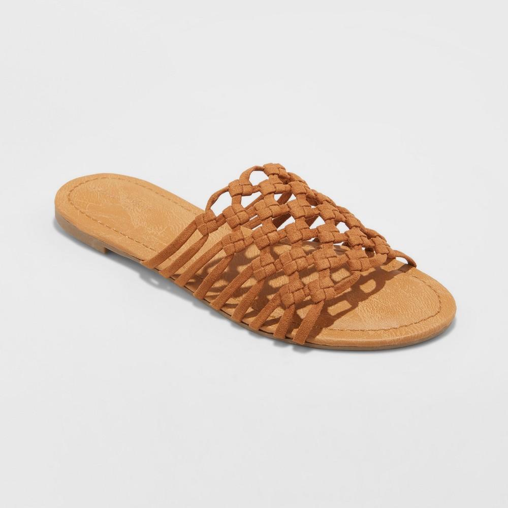 Women's Daphne Microsuede Rope Slide Sandals - Universal Thread Cognac (Red) 10