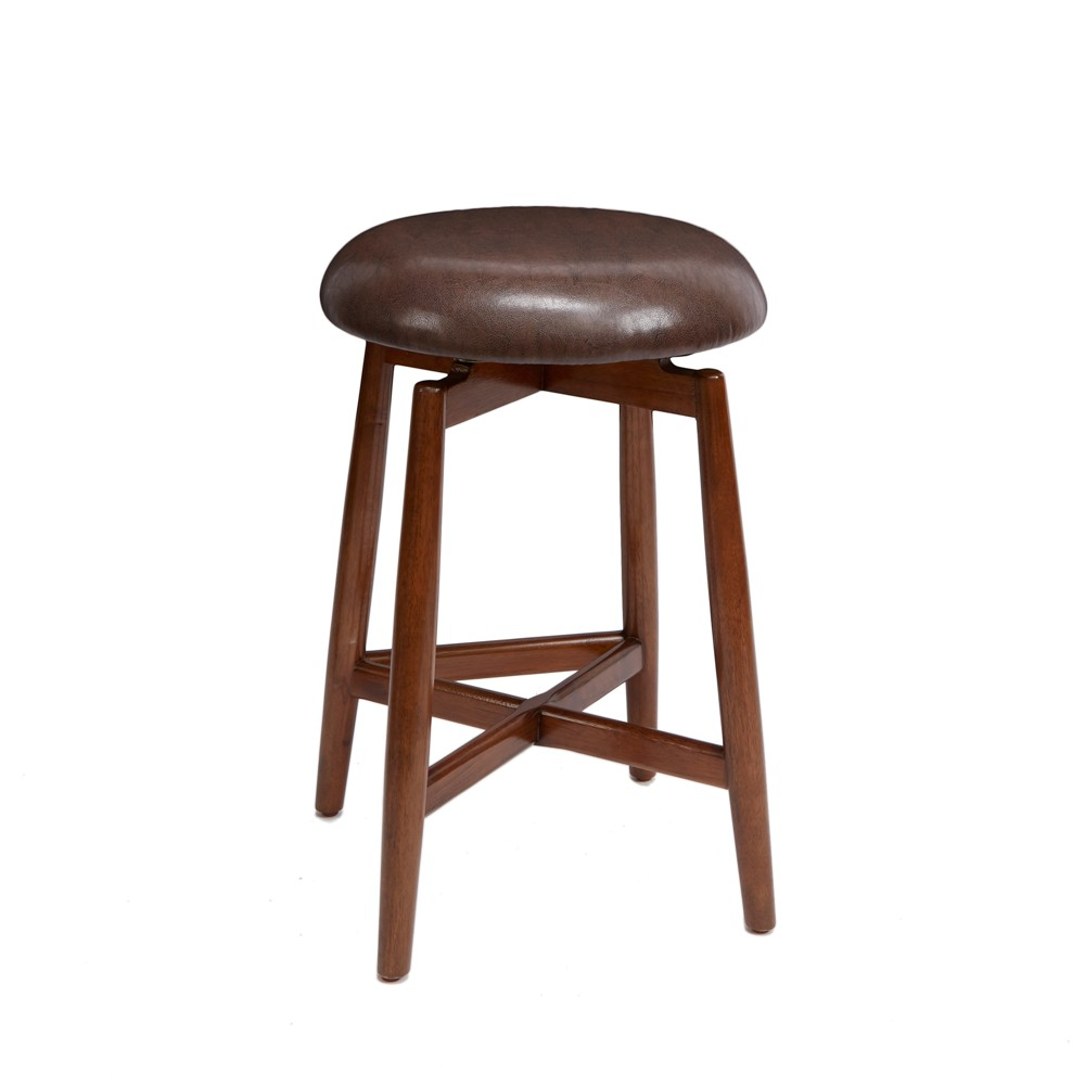 "Image of ""24"""" Dodie Modern Wood Swivel Barstool with Round Cushion Brown - Silverwood"""