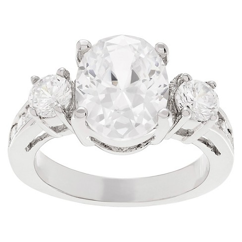 1 1/3 CT. T.W. Oval-Cut CZ Prong Set Three-stone Engagement Ring In Brass - Silver - image 1 of 2