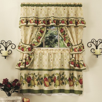 GoodGram Apple Blossom Complete 5 Pc. Kitchen Curtain Tier & Swag Set