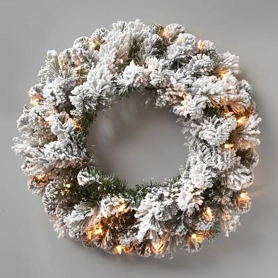 22in Prelit Flocked Artificial Cashmere Pine Wreath Clear Lights - Wondershop™