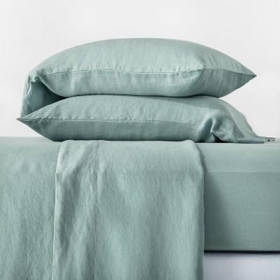 Queen 100% Washed Hemp Solid Sheet Set Sage Green - Casaluna™