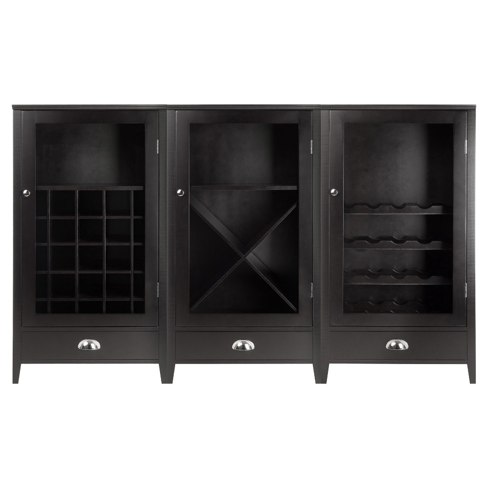 Wine Cabinet Modular Set Wood/Black Espresso - Winsome