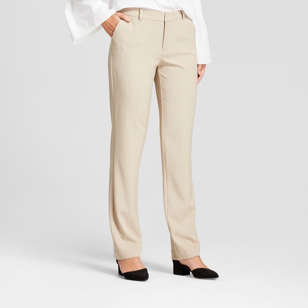 Women's Straight Leg Bi-Stretch Twill Pants - A New Day Khaki (Green) 0