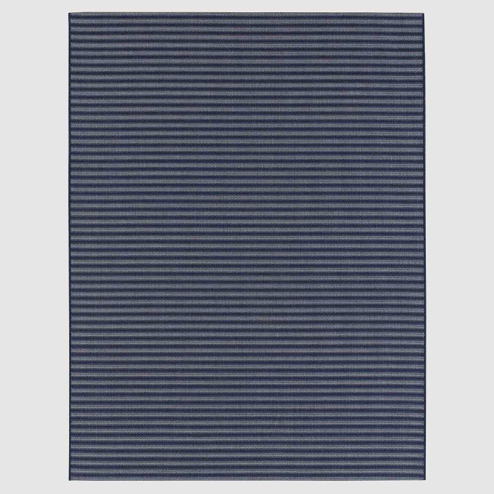 8' x 10' Stripe Outdoor Rug Blue - Smith & Hawken