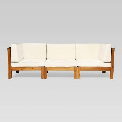 Brava 3pc Acacia Modular Sofa - Teak/Beige - Christopher Knight Home