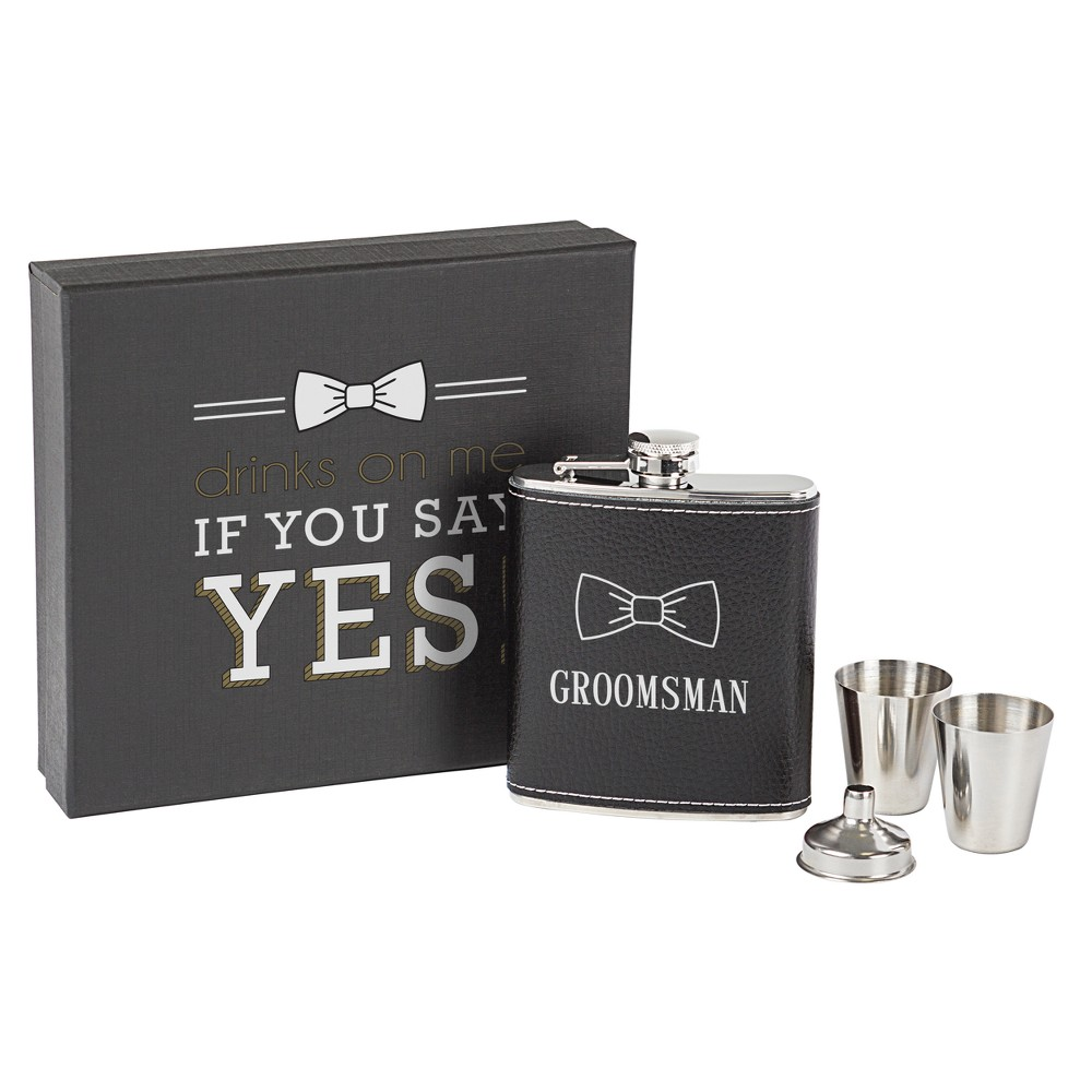 Cathy's Concepts Black Groomsman Leather Wrapped Flask Set, Brown