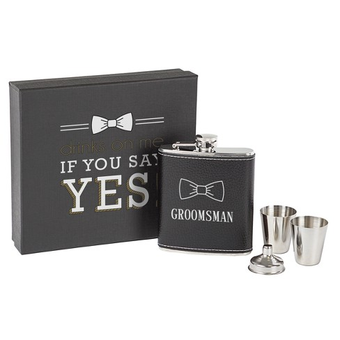 Cathy's Concepts Black Groomsman Leather Wrapped Flask Set - image 1 of 9