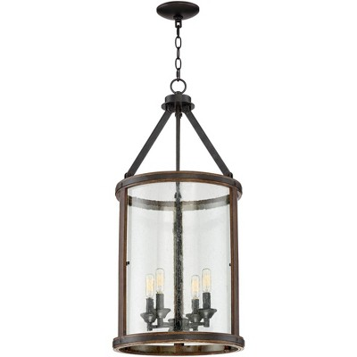 """Franklin Iron Works Metal Wood Pendant Chandelier 16"""" Wide Rustic Farmhouse Clear Seeded Glass 4-Light Fixture Dining Room Foyer"""