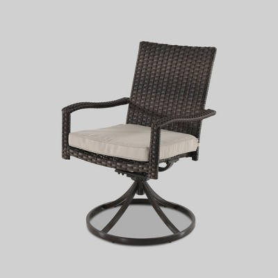 2pk Halsted Swivel Patio Dining Chair Brown - Threshold™