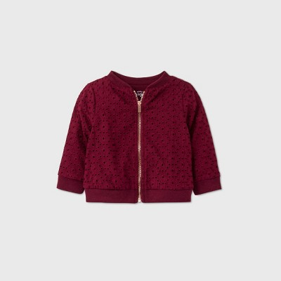 Baby Girls' Eyelet Bomber Jacket - Cat & Jack™ Burgundy 0-3M