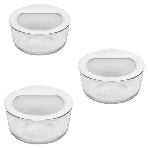 Pyrex 2 Cup 6pc Value Pack No Leak Glass Lids Food Storage Containers White - image 1 of 1