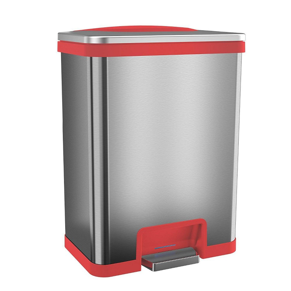 Image of 13gal TapCan Stainless Steel Step Pedal Sensor Trash Can with Red Trim - Halo, Silver