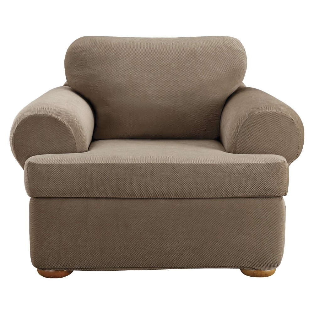 Taupe (Brown) Stretch Pique Slipcover Tchair - Sure Fit