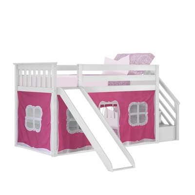 Max & Lily Low Bunk with Stairs and Slide with Curtains