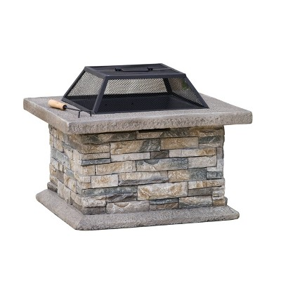 Crestline 29  Concrete Wood Burning Fire Pit - Square - Natural Stone - Christopher Knight Home