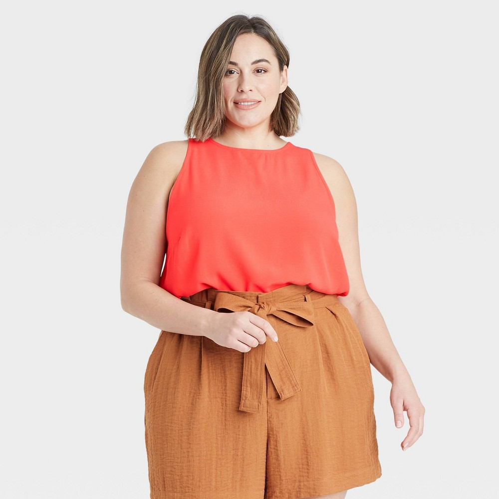Women 39 S Plus Size Racer Back Tank Top A New Day 8482 Coral 3x