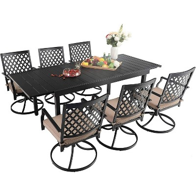 7pc Metal Dining Set with Expandable Table & 6 Swivel Chairs - Captiva Designs