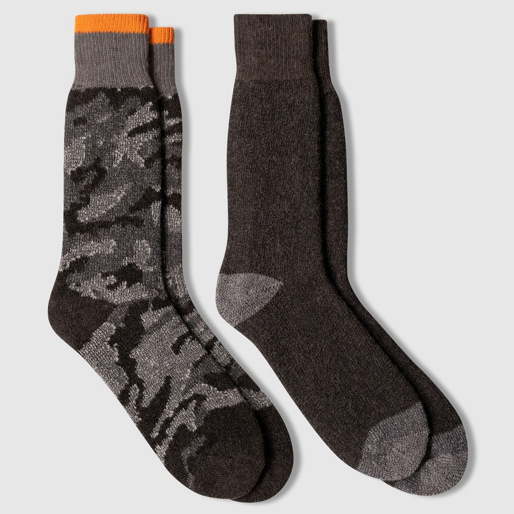 Image of Men's Camo Print Wool IQ Heavyweight Over the Calf Socks 2pk - Brown 10-13