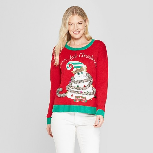 Womens Purrfect Christmas Cat Ugly Sweater 33 Degrees Juniors