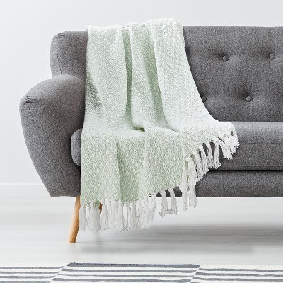 Throw Blanket 100% Cotton Medium Weight with Fringe - Americanflat