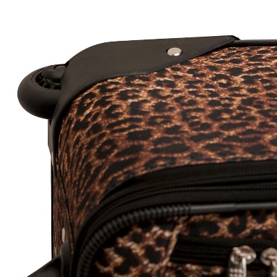 Rockland Safari 4pc Rolling Luggage Set - Leopard, Brown