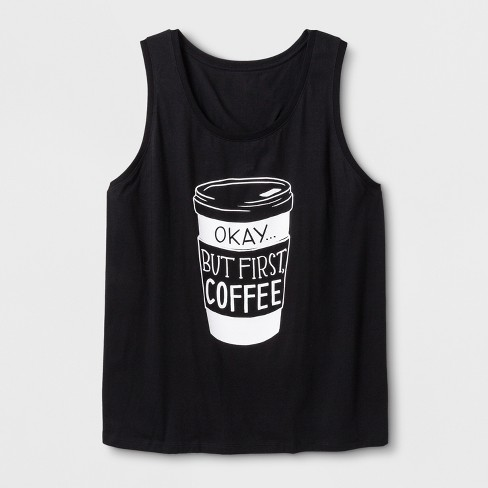 Women's Plus Size 'But First, Coffee' Graphic Tank Top - Black - image 1 of 2