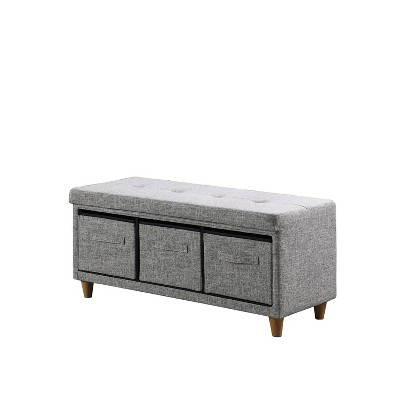 Tufted Bench with Basket Drawers - Ore International