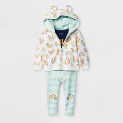 "Baby Girls' 3pc ""Love You"" Bodysuit, Critter Hoodie, Striped Rainbow Knee Leggings Set - Cat & Jack™ Cream Newborn"