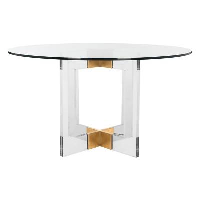 Xevera Acrylic Dining Table Brass/Clear - Safavieh