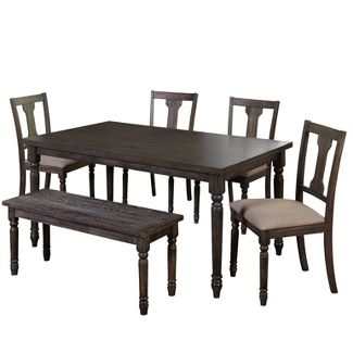 6 Piece Burntwood Dining Set With Bench - Weathered Gray - Target Marketing Systems