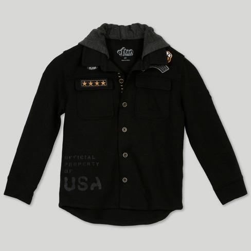 Afton Street Toddler Boys' Long Sleeve Button-Down Shirt - Black 18M - image 1 of 3