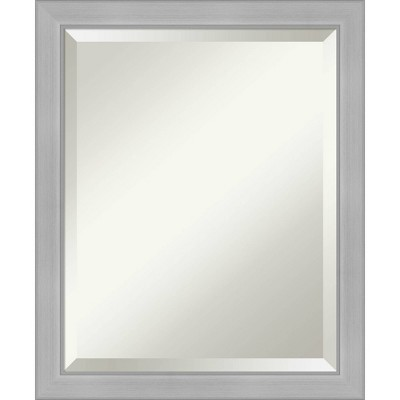 Vista Brushed Framed Bathroom Vanity Wall Mirror Nickel - Amanti Art