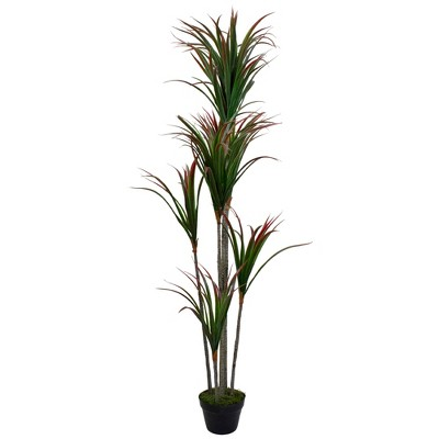 """Northlight 67"""" Green and Red Artificial Dracaena Marginata Potted Plant"""