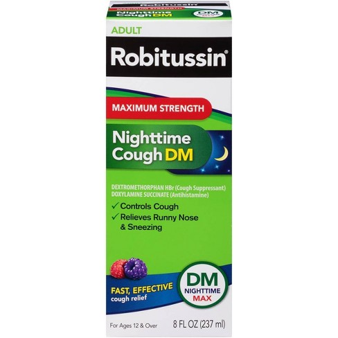 Robitussin Maximum Strength Nighttime Cough DM Syrup - Dextromethorphan - 8 fl oz - image 1 of 3
