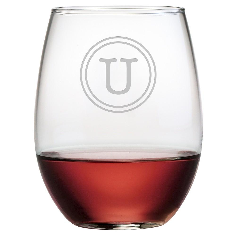 Susquehanna 21oz Glass Monogram Stemless Wine Glasses - U - Set of 4, Clear