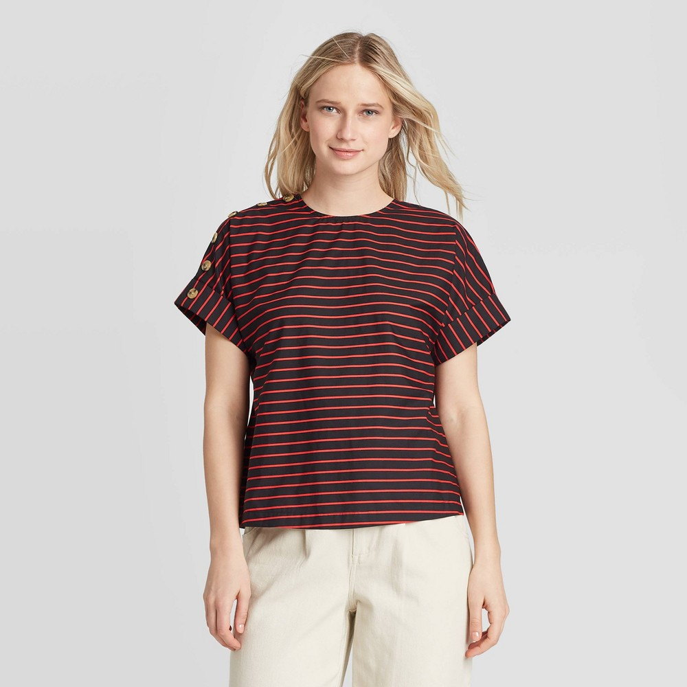 Women's Striped Short Sleeve Button Blouse - Who What Wear Black M was $24.99 now $17.49 (30.0% off)