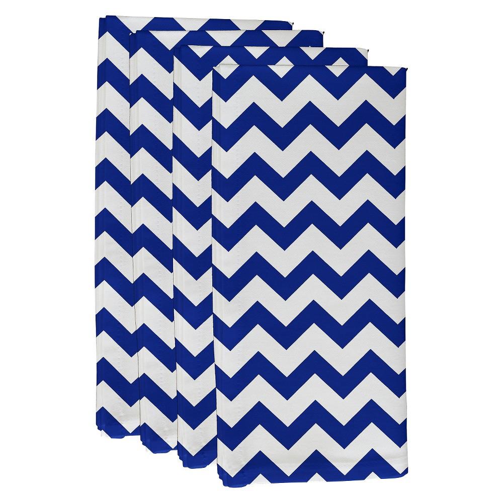 """Dazzling Blue Chevron Throw Napkin Set (19""""X19"""") - E By D..."""