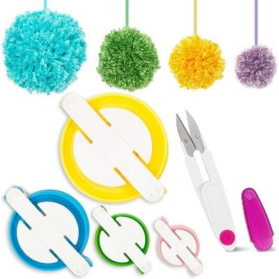 DIY Pom-Pom Maker, 4 Sizes Pompom Maker Tools with Thread Cutting Scissors for Fluff Ball Weave DIY Craft Projects