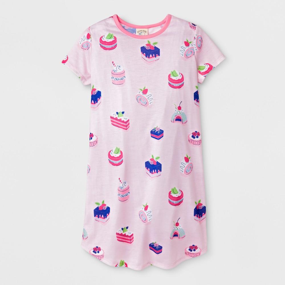 Nite Nite Munki Munki Girls' Short Sleeve Tarts and Cakes Printed Nightgown - Pink S, Size: Small