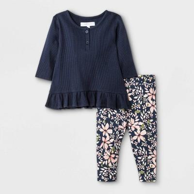 Grayson Mini Baby Girls' Thermal Henley Top & Bottom Set - Black