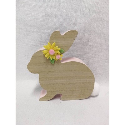 Wood Bunny Figurine Party Decoration and Accessory Brown - Spritz™