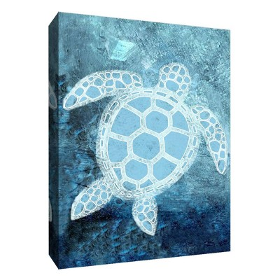 Turtle Under The Sea Decorative Canvas Wall Art 11 x14  - PTM Images