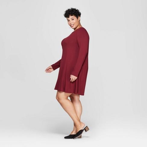ad29e6ee3692 Women's Plus Size Long Sleeve Scoop Neck Knit Swing Dress - Ava & Viv™.  Shop all Ava & Viv