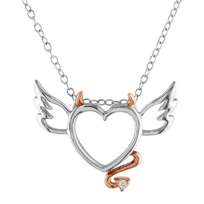 0.01 CT. T.W. Diamond Devilish Heart Pendant Necklace in Pink Rhodium Plated and Sterling Silver - White