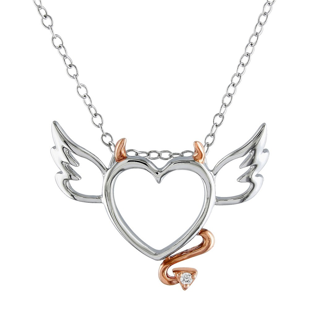 Image of 0.01 CT. T.W. Diamond Devilish Heart Pendant Necklace in Pink Rhodium Plated and Sterling Silver - White, Women's