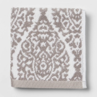 Performance Washcloth Gray Ogee - Threshold™